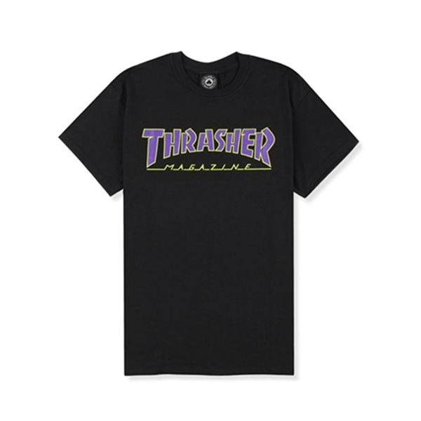 [트래셔 반팔 티셔츠] Outlined Tee Black Purple [THRASHER]