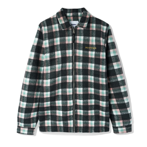 버터굿즈 자켓  FLANNEL PLAID OVERSHIRT PINK SAGE BLACK  BUTTER GOODS