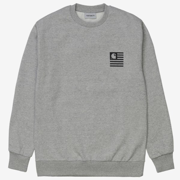 칼하트 크루넥  WAVY STATE SWEATSHIRT GREY HEATHER  CARHARTT