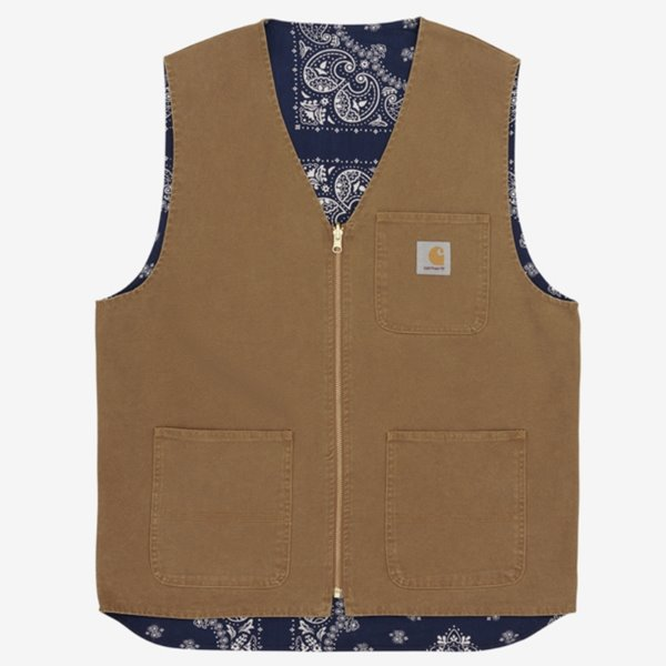칼하트 베스트  BANDANA WORK VEST REVERSIBLE HAMILTON BROWN NAVY STONE WASHED  CARHARTT
