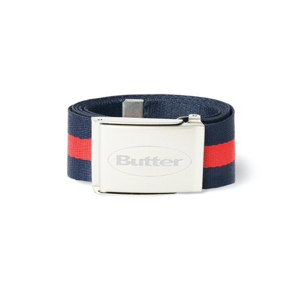 버터굿즈 벨트  STRIPE WEB BELT NAVY / RED  BUTTER GOODS