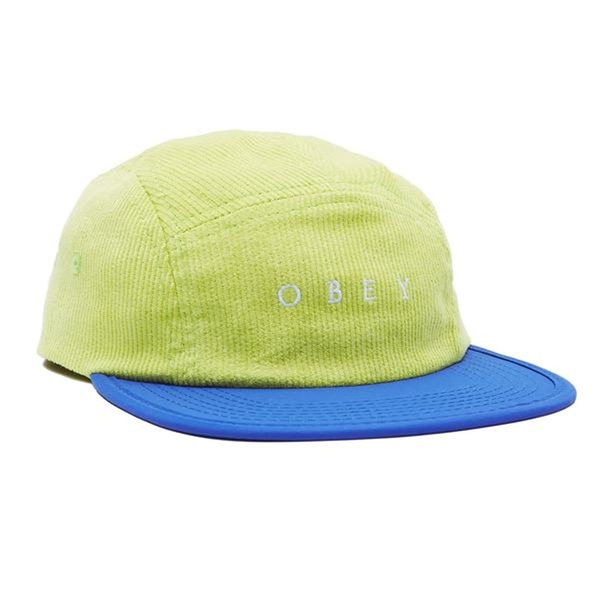 오베이 캠프캡  HOLLOW 5 PANEL LIME MULTI  OBEY