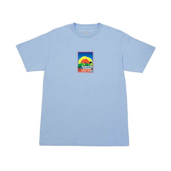쿼터스낵스 티셔츠  Track Club Postcard Tee Powder Blue  QUARTER SNACKS