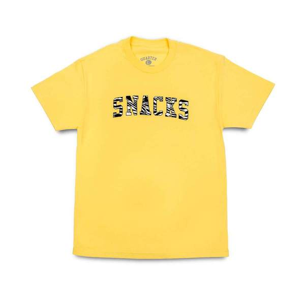 쿼터스낵스 티셔츠  SNACKS Varsity Tee Light Yellow  QUARTER SNACKS