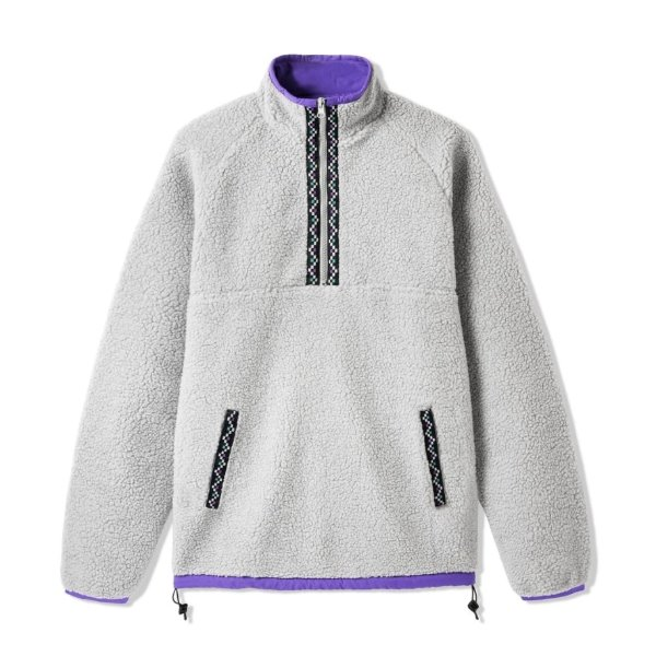 버터굿즈 자켓  Glacier Sherpa 1/4 Zip Light Grey BUTTER GOODS