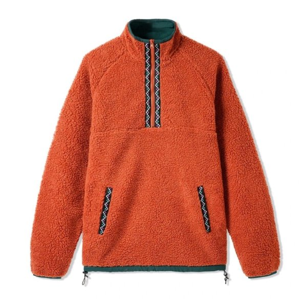 버터굿즈 자켓  Glacier Sherpa 1/4 Zip Rust  BUTTER GOODS
