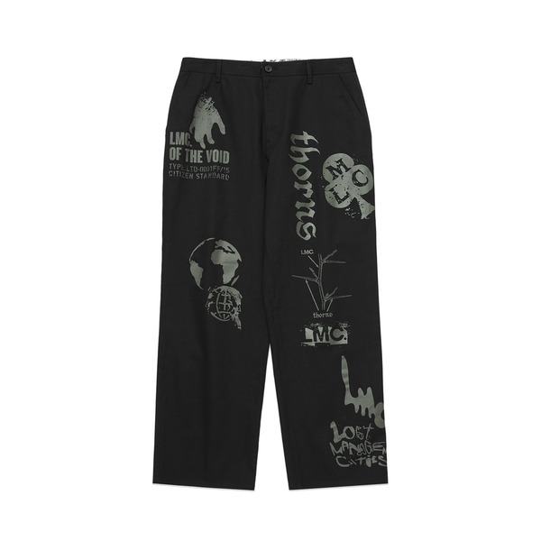 LMC 바지  GRAPHIC PRINTED DESCRIPTION WORK PANTS BLACK  엘엠씨