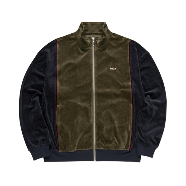 퍼즈 자켓  SOFT VELOUR JACKET OLIVE CHARCOAL  FUZZ