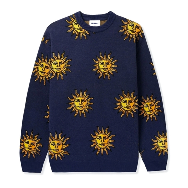버터굿즈 니트  SUN KNIT SWEATER NAVY  BUTTER GOODS